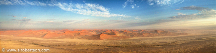 Red sand dunes near Sossusvlei as seen from a hot air balloon, Namib Desert, Namibia