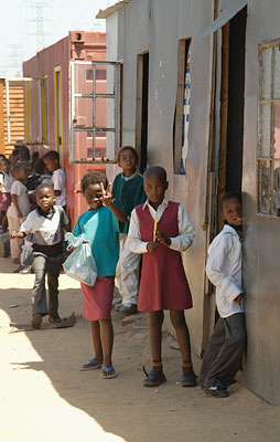School children and classrooms, Khyelitsha Township, South Africa