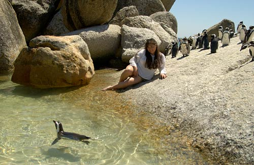 Nicci and penguins at Boulders Beach