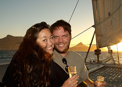 Scott & Nicci on sunset cruise, Cape Town, South Africa