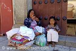 Zapotec Woman and Child Selling Dresses 1