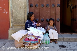 Zapotec Woman and Child Selling Dresses 2