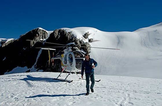 Photo Of Helicopter On Snow Pack With Pilot Fox Glacier  Scott L Robertson