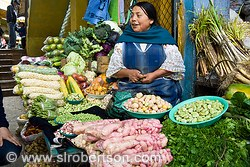 Otavalo Woman Produce Stand 2