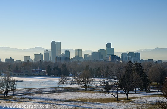 Denver Skyline from City Park, Winter