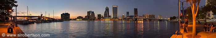Downtown Jacksonville Skyline and St. Johns River at Night